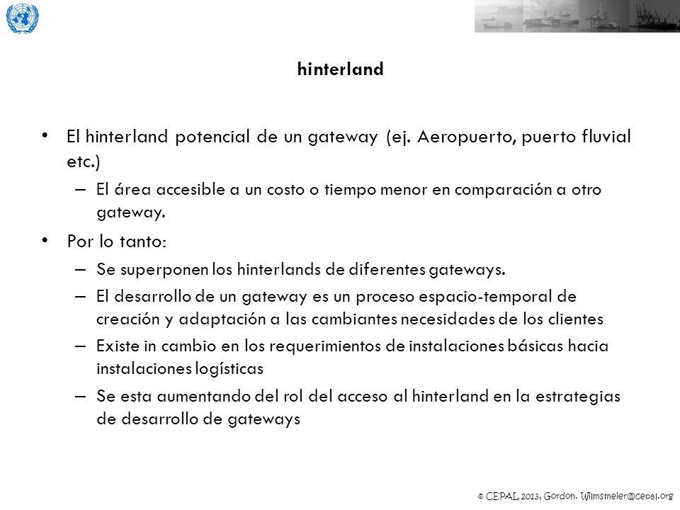 hinterland El hinterland potencial de un gateway (ej. Aeropuerto, puerto fluvial etc.)