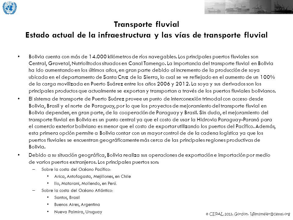 Transporte fluvial Estado actual de la infraestructura y las vías de transporte fluvial