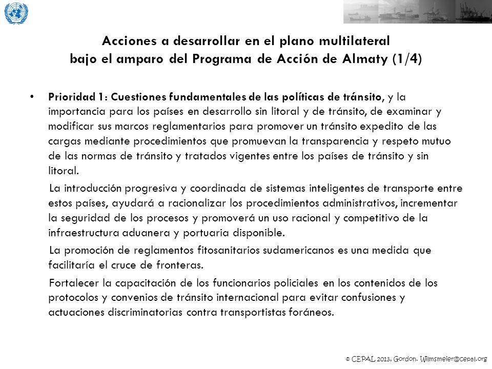 Acciones a desarrollar en el plano multilateral bajo el amparo del Programa de Acción de Almaty (1/4)