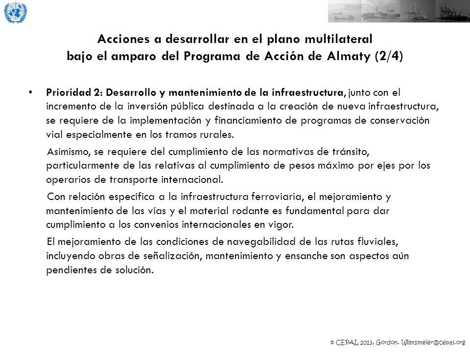 Acciones a desarrollar en el plano multilateral bajo el amparo del Programa de Acción de Almaty (2/4)