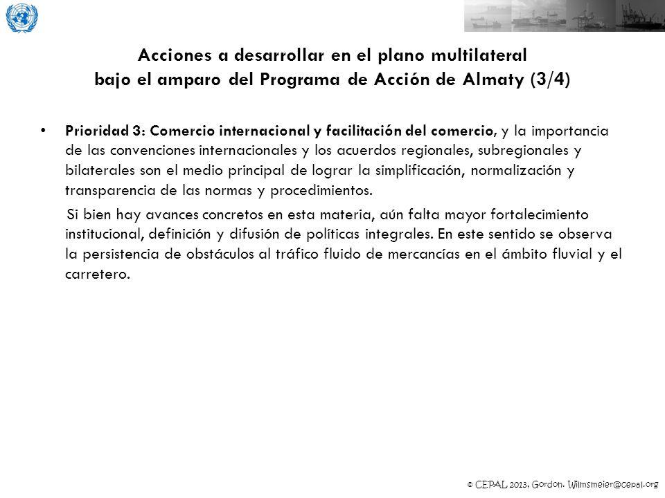 Acciones a desarrollar en el plano multilateral bajo el amparo del Programa de Acción de Almaty (3/4)