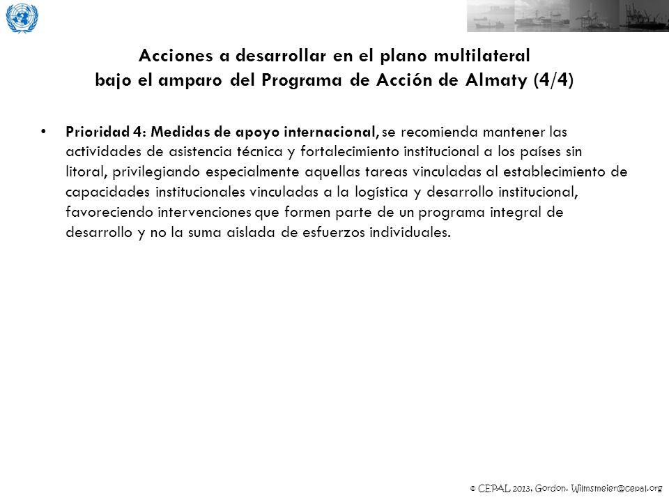 Acciones a desarrollar en el plano multilateral bajo el amparo del Programa de Acción de Almaty (4/4)