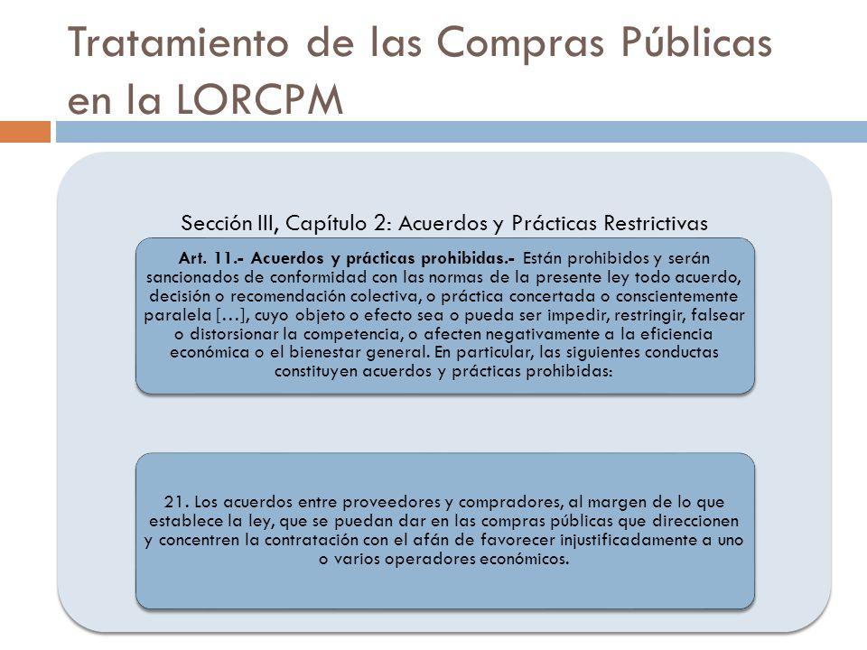 Tratamiento de las Compras Públicas en la LORCPM