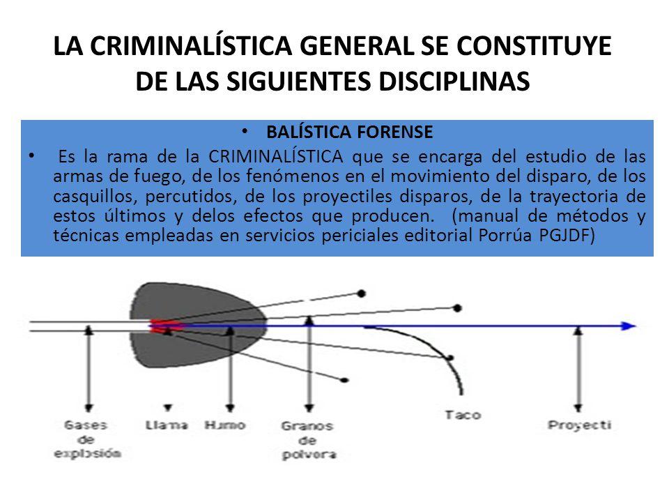 LA CRIMINALÍSTICA GENERAL SE CONSTITUYE DE LAS SIGUIENTES DISCIPLINAS