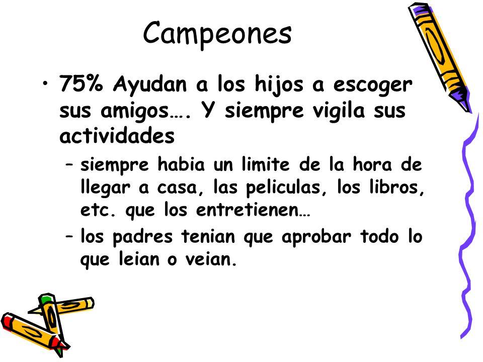 Campeones 75% Ayudan a los hijos a escoger sus amigos…. Y siempre vigila sus actividades.