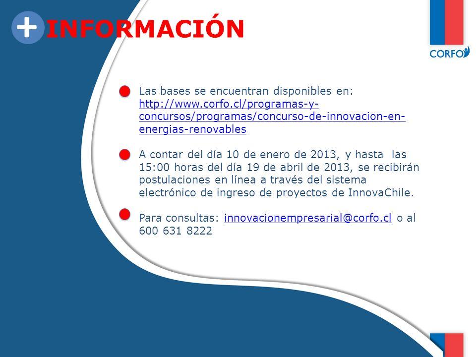 + INFORMACIÓN Las bases se encuentran disponibles en:
