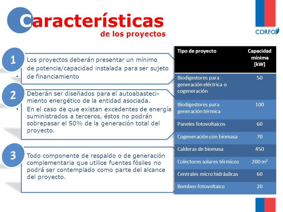 Características 1 2 3 de los proyectos