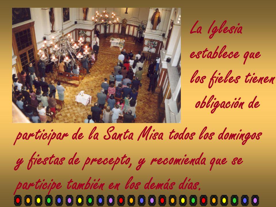 La Iglesia establece que. los fieles tienen. obligación de. participar de la Santa Misa todos los domingos.