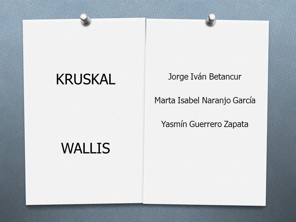 KRUSKAL WALLIS Jorge Iván Betancur Marta Isabel Naranjo García