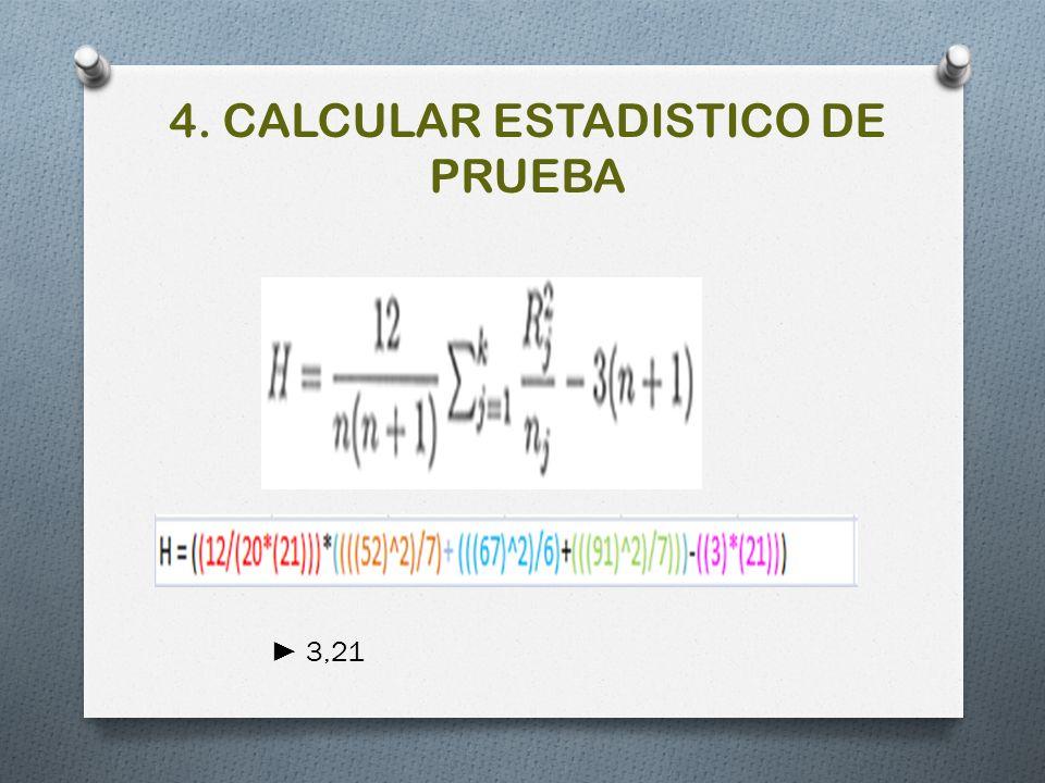 4. CALCULAR ESTADISTICO DE PRUEBA