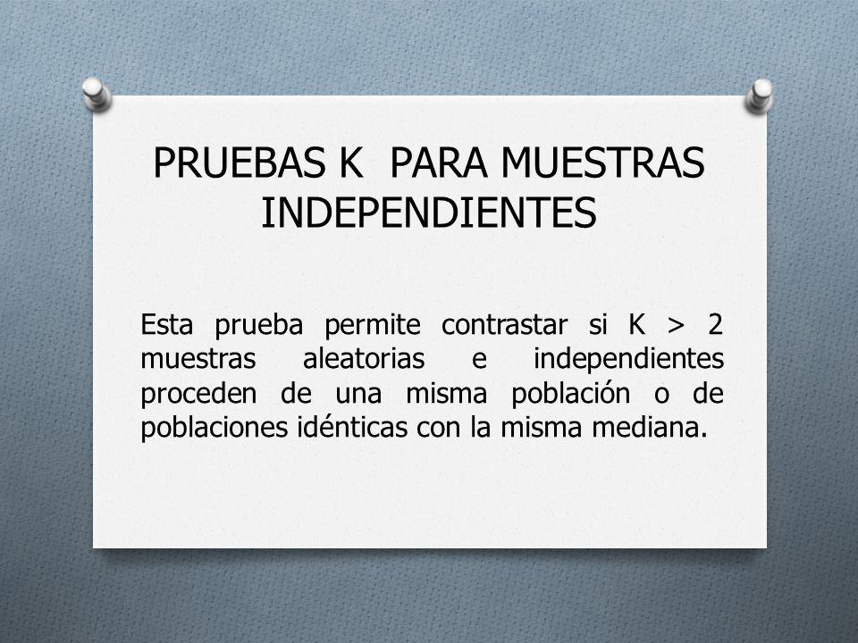 PRUEBAS K PARA MUESTRAS INDEPENDIENTES