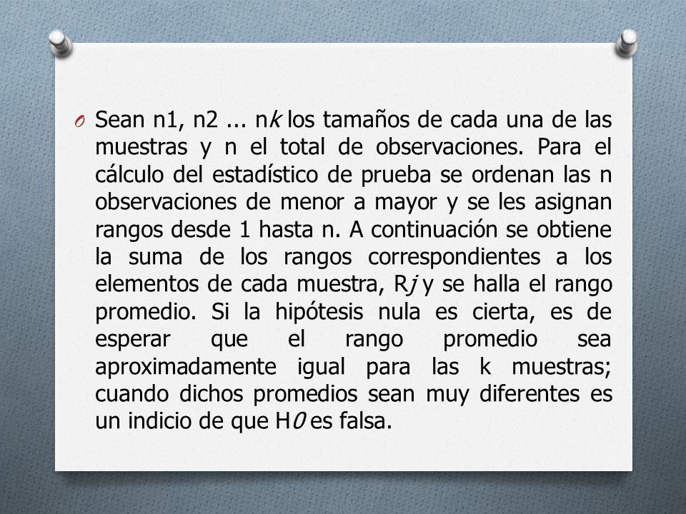 Sean n1, n2 ... nk los tamaños de cada una de las muestras y n el total de observaciones.
