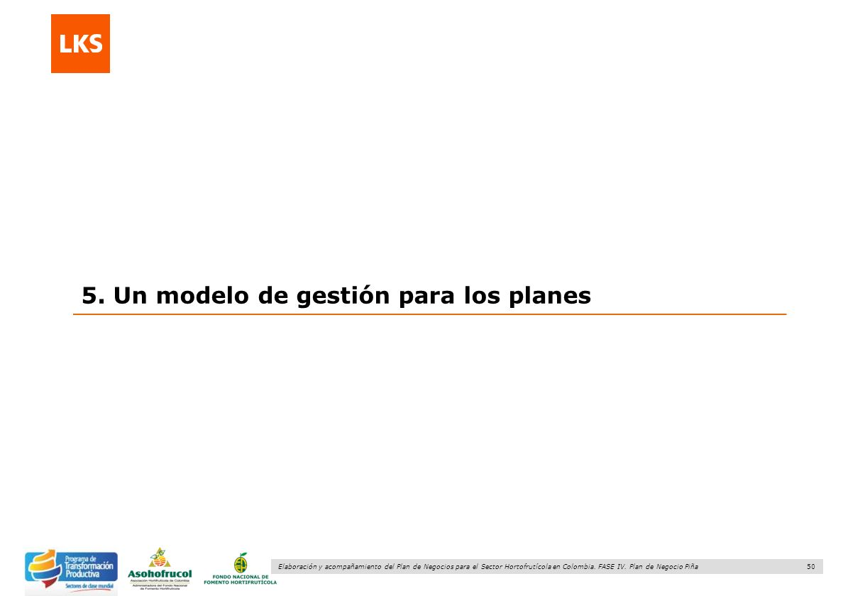 5. Un modelo de gestión para los planes