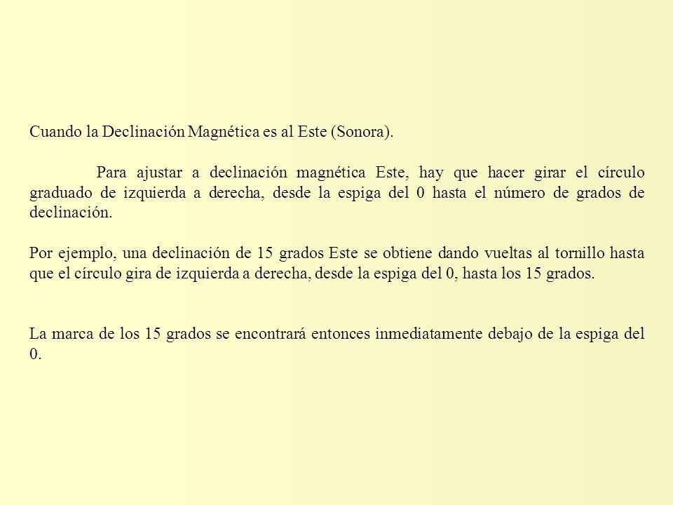 Cuando la Declinación Magnética es al Este (Sonora).