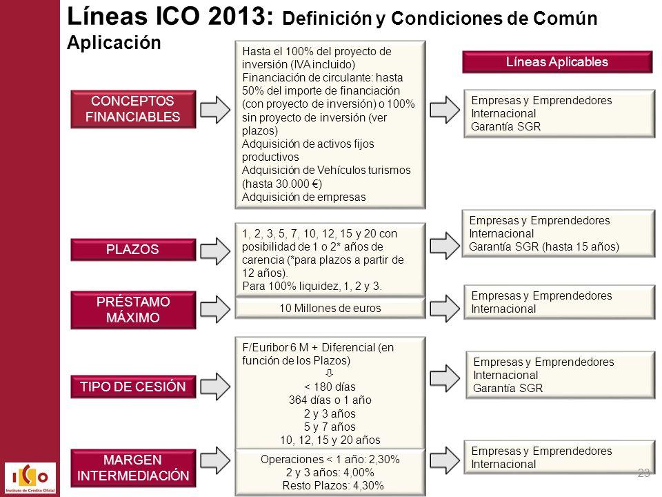Líneas ICO 2013: Definición y Condiciones de Común Aplicación