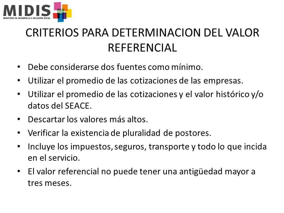 CRITERIOS PARA DETERMINACION DEL VALOR REFERENCIAL