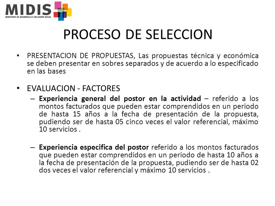 PROCESO DE SELECCION EVALUACION - FACTORES