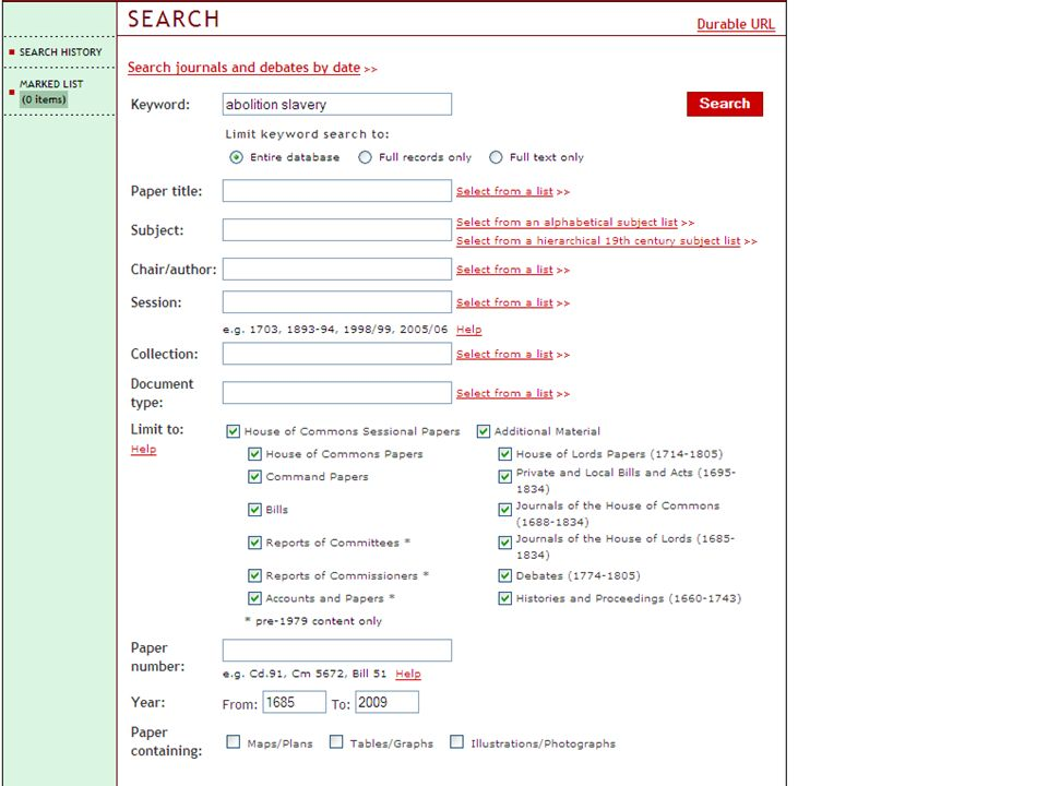 With the 18th and 19th century collections you will see some additional options on the search page.