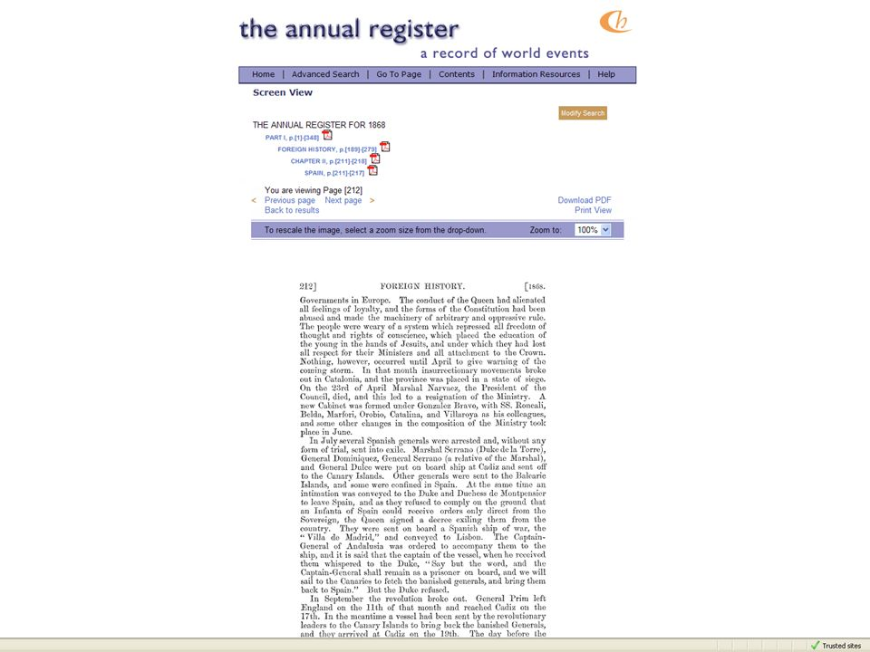 The Annual Register – for most of its history there are entries per country per year reporting on major events.