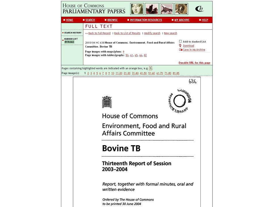 Here's the report on bovine TB referred to there, in HCPP.