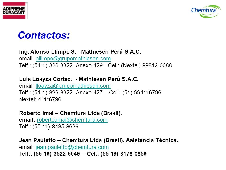 Contactos: Ing. Alonso Llimpe S. - Mathiesen Perú S.A.C.