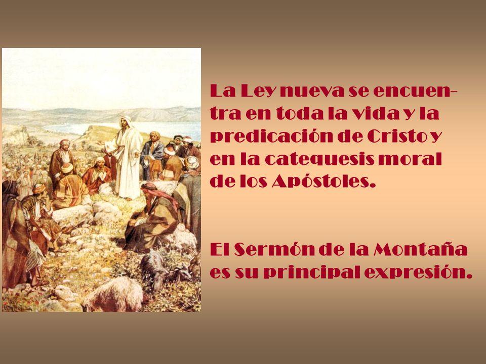 La Ley nueva se encuen-tra en toda la vida y la. predicación de Cristo y. en la catequesis moral. de los Apóstoles.