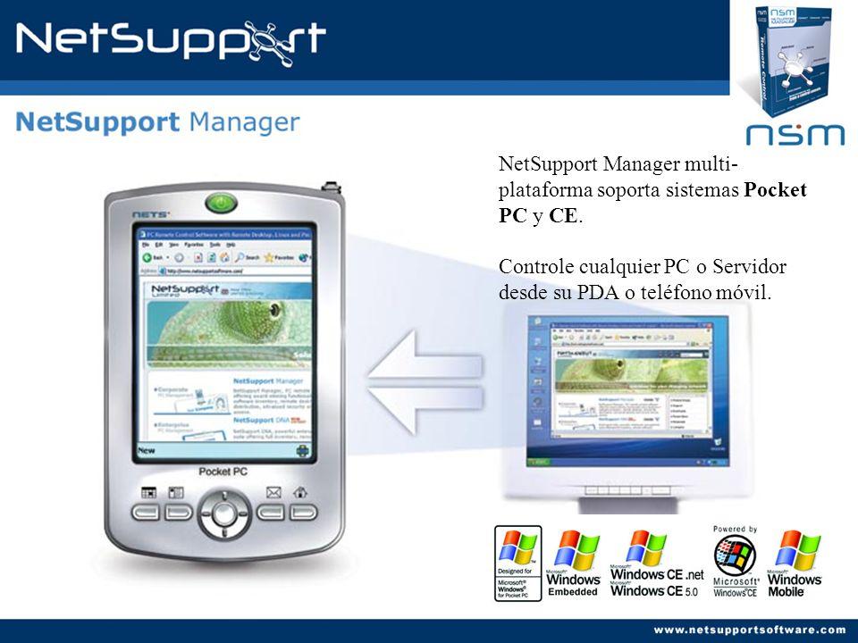 NetSupport Manager multi-plataforma soporta sistemas Pocket PC y CE.