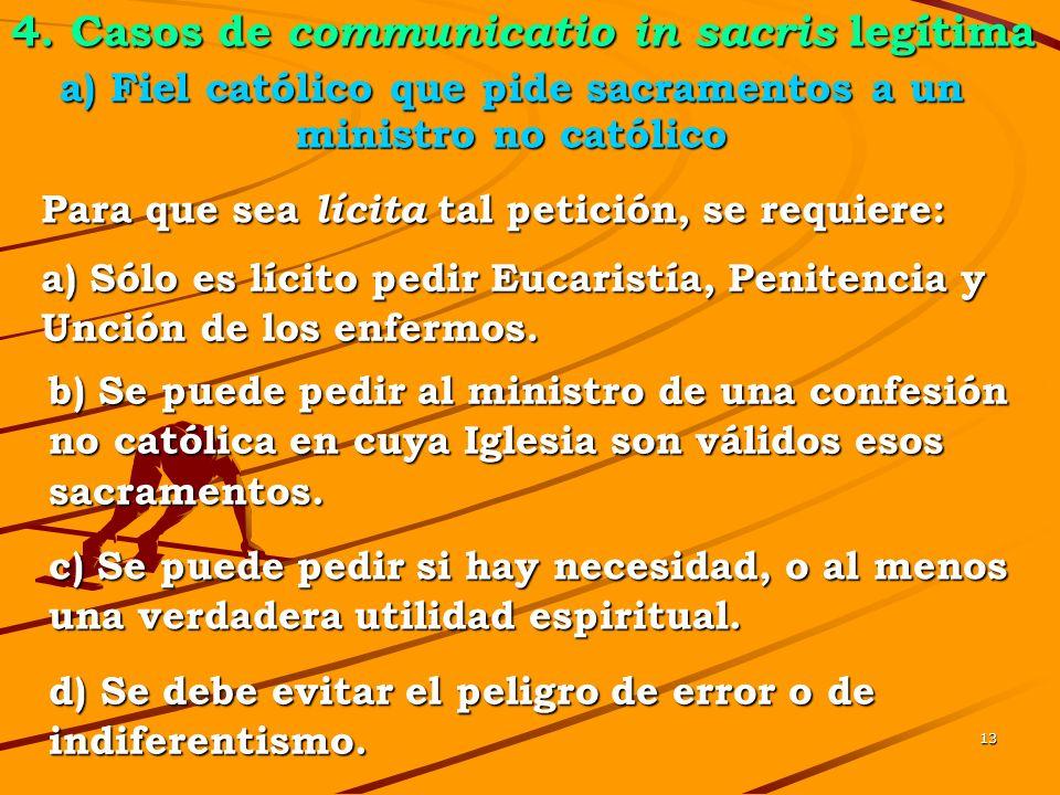 a) Fiel católico que pide sacramentos a un ministro no católico