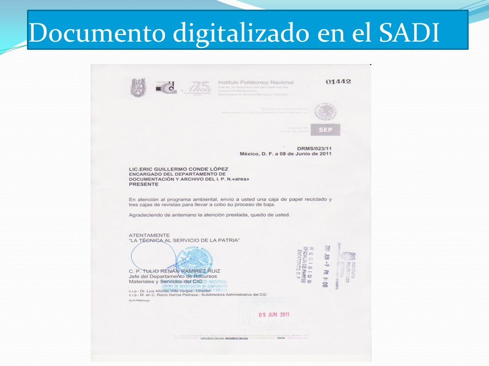 Documento digitalizado en el SADI