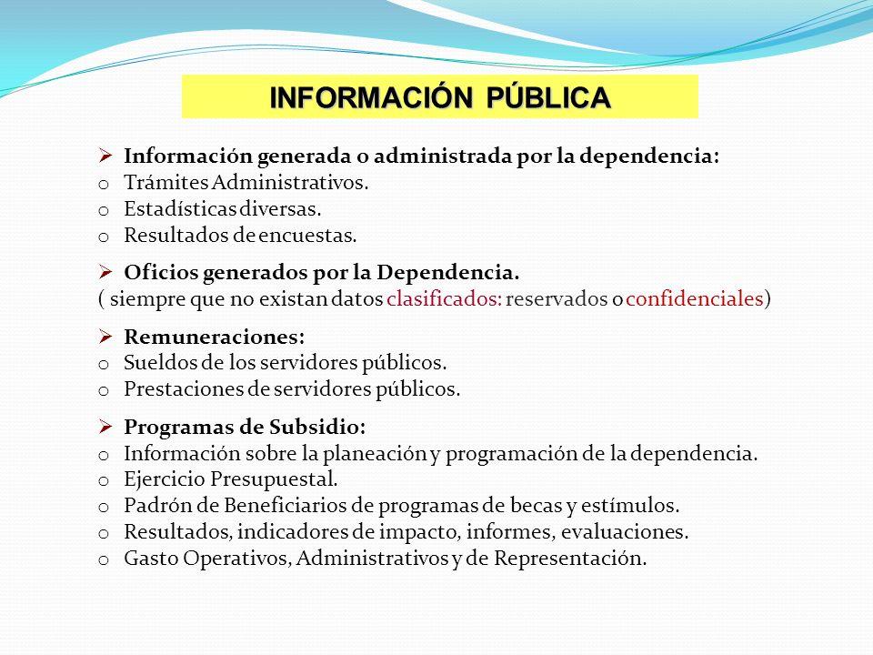 INFORMACIÓN PÚBLICA Información generada o administrada por la dependencia: Trámites Administrativos.