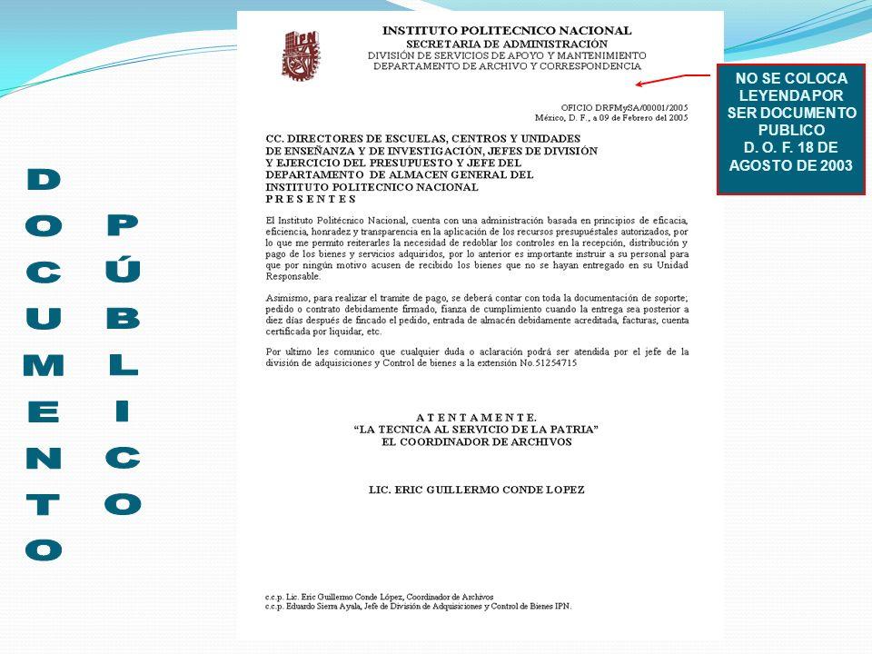 NO SE COLOCA LEYENDA POR SER DOCUMENTO PUBLICO
