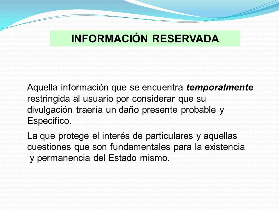 INFORMACIÓN RESERVADA