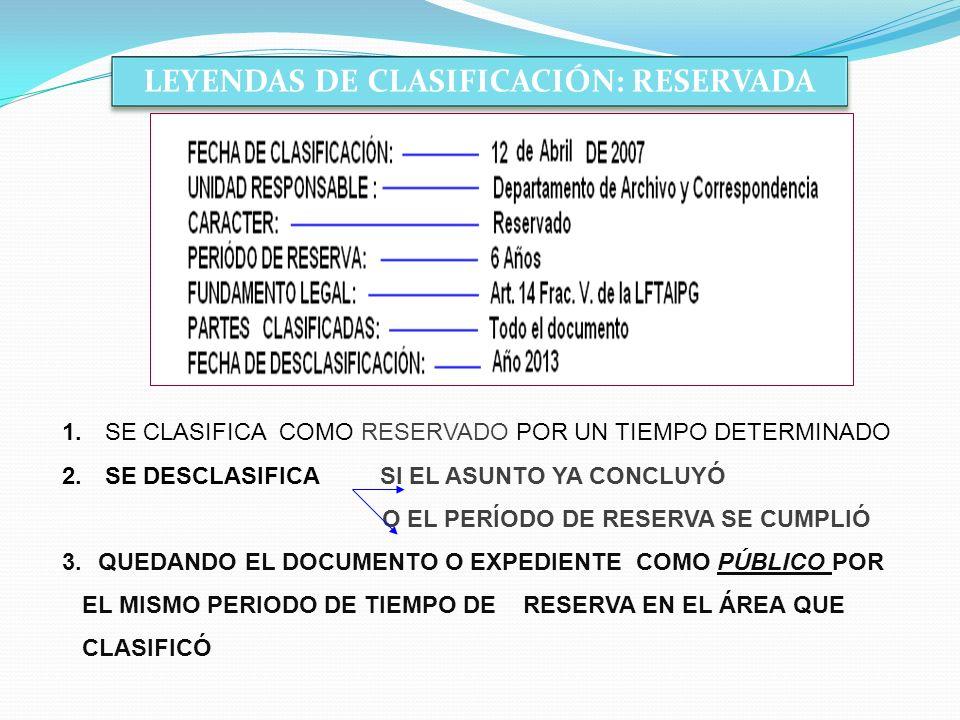 LEYENDAS DE CLASIFICACIÓN: RESERVADA