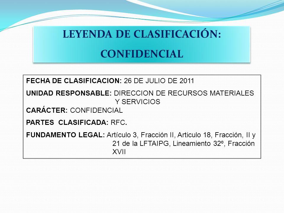 LEYENDA DE CLASIFICACIÓN: