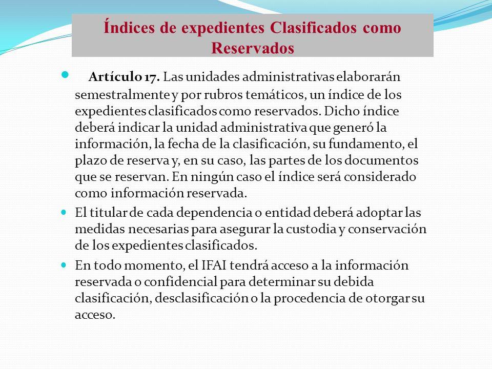 Índices de expedientes Clasificados como Reservados