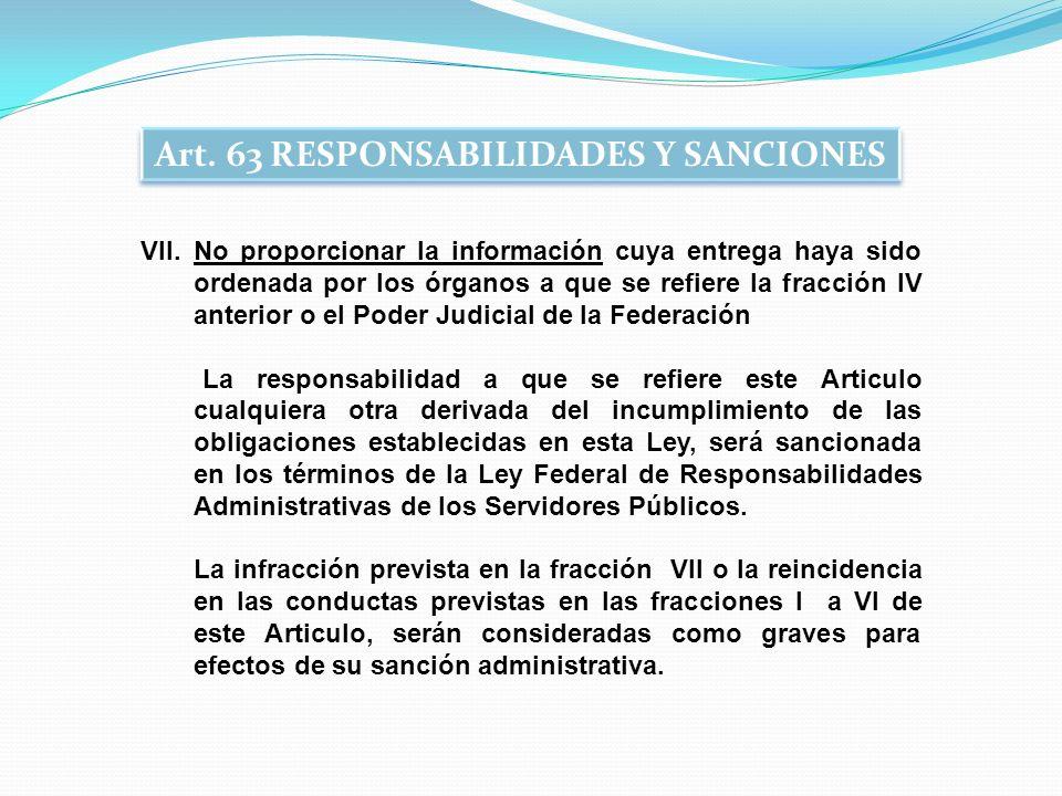 Art. 63 RESPONSABILIDADES Y SANCIONES