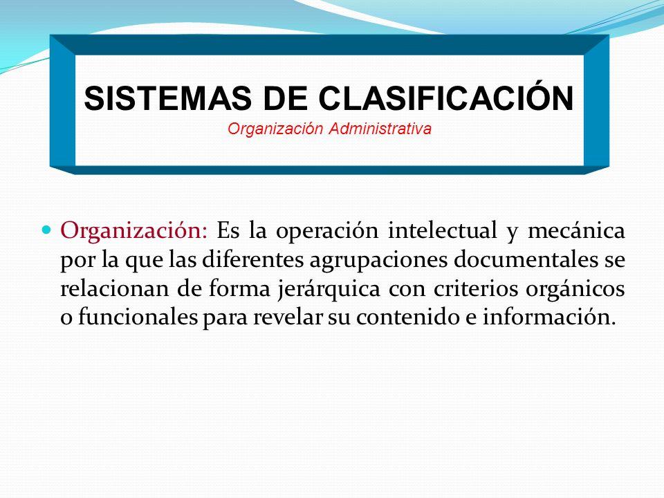 SISTEMAS DE CLASIFICACIÓN Organización Administrativa