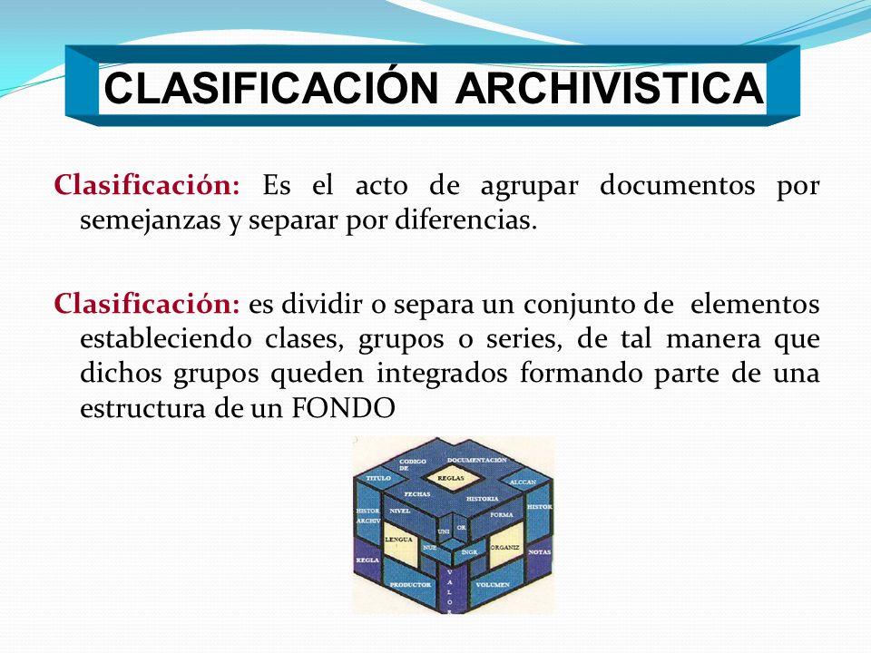 CLASIFICACIÓN ARCHIVISTICA
