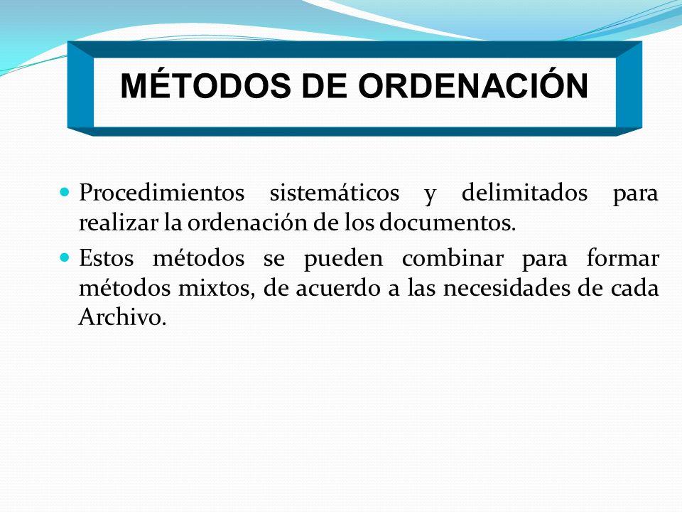 MÉTODOS DE ORDENACIÓN Procedimientos sistemáticos y delimitados para realizar la ordenación de los documentos.