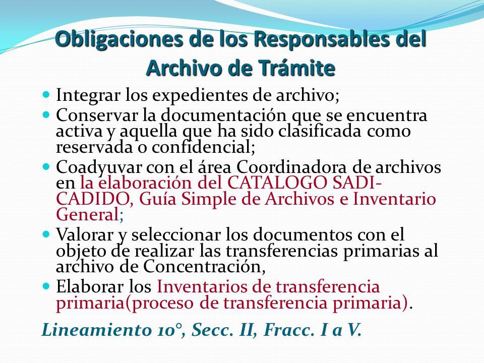 Obligaciones de los Responsables del Archivo de Trámite