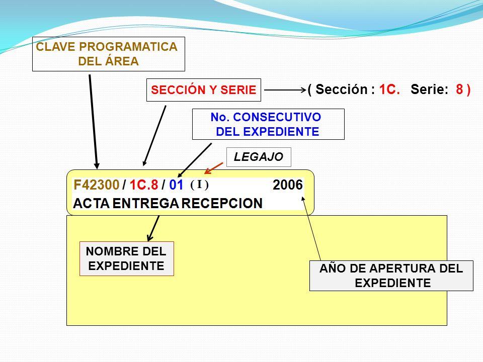 ( Sección : 1C. Serie: 8 ) CLAVE PROGRAMATICA DEL ÁREA SECCIÓN Y SERIE