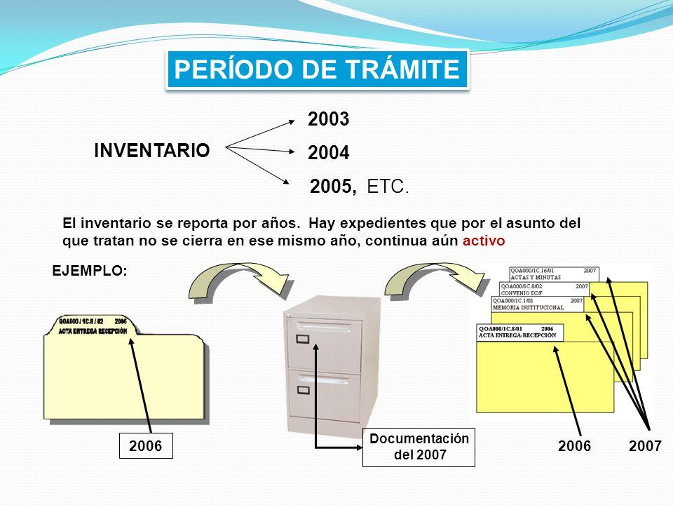 PERÍODO DE TRÁMITE 2003 2004 2005, ETC. INVENTARIO