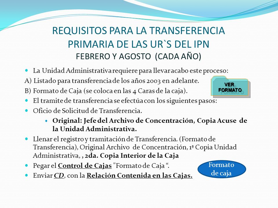 REQUISITOS PARA LA TRANSFERENCIA PRIMARIA DE LAS UR`S DEL IPN FEBRERO Y AGOSTO (CADA AÑO)