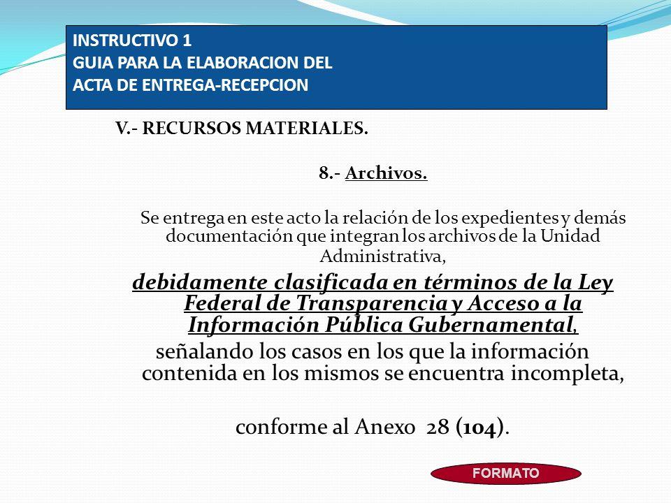 INSTRUCTIVO 1 GUIA PARA LA ELABORACION DEL ACTA DE ENTREGA-RECEPCION
