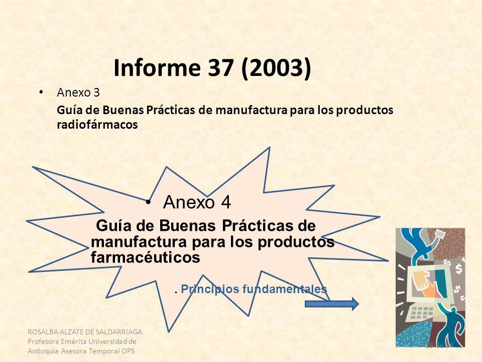 Informe 37 (2003) Anexo 3. Guía de Buenas Prácticas de manufactura para los productos radiofármacos.
