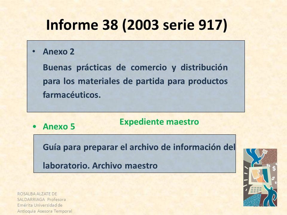 Informe 38 (2003 serie 917) Anexo 2. Buenas prácticas de comercio y distribución para los materiales de partida para productos farmacéuticos.