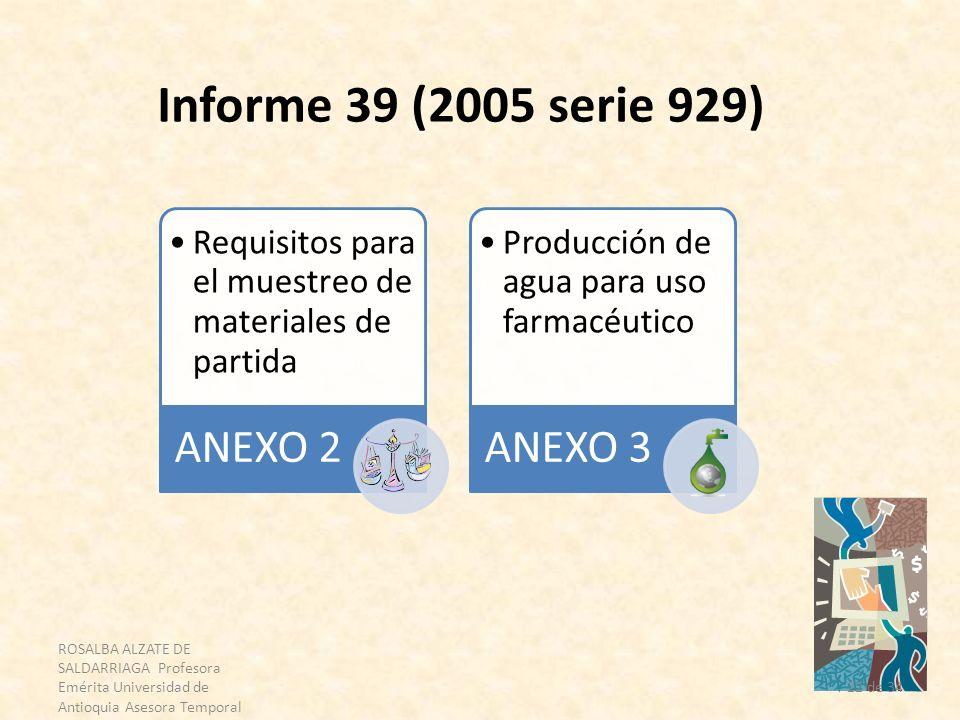 Informe 39 (2005 serie 929) ANEXO 2. Requisitos para el muestreo de materiales de partida. ANEXO 3.