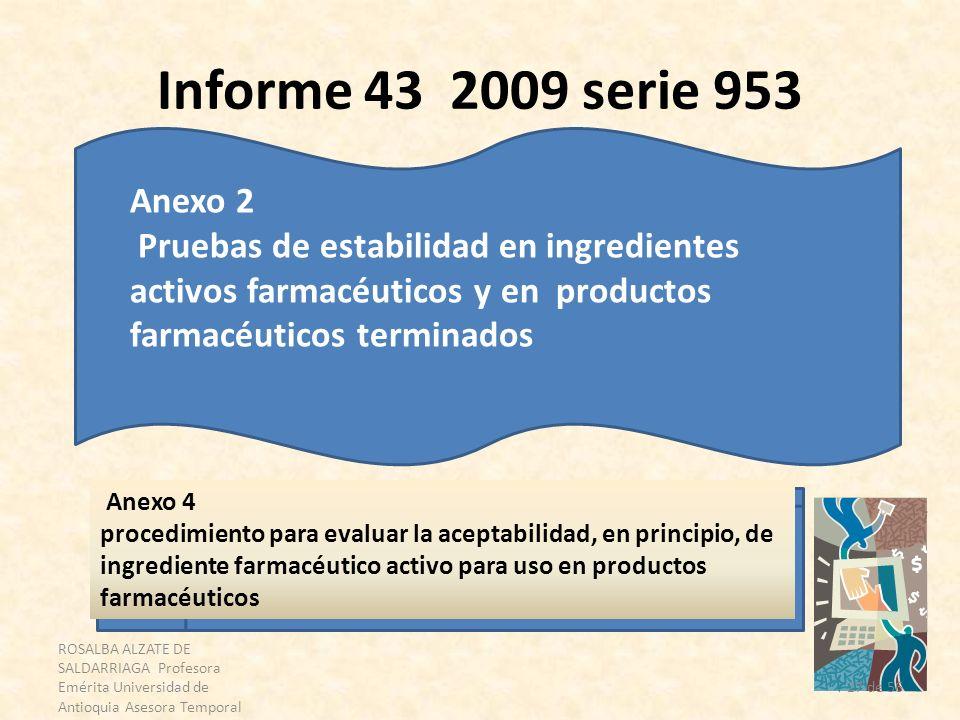 Informe 43 2009 serie 953 Anexo 2. Pruebas de estabilidad en ingredientes activos farmacéuticos y en productos farmacéuticos terminados.