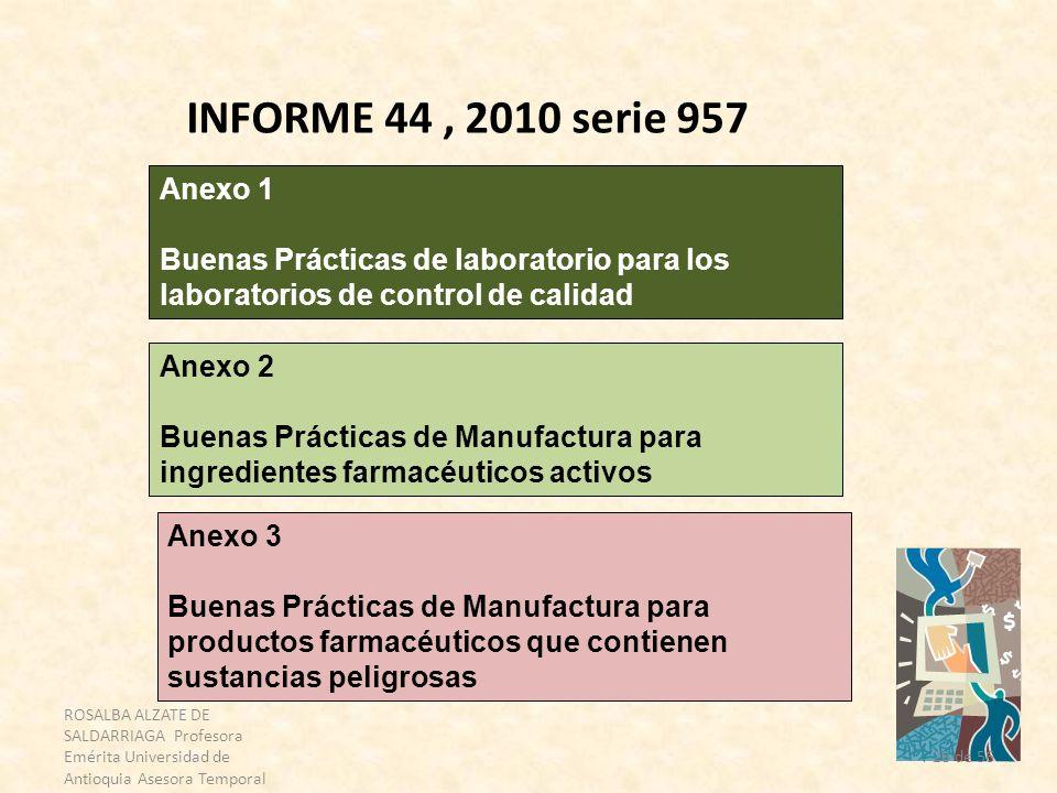 INFORME 44 , 2010 serie 957 Anexo 1. Buenas Prácticas de laboratorio para los laboratorios de control de calidad.