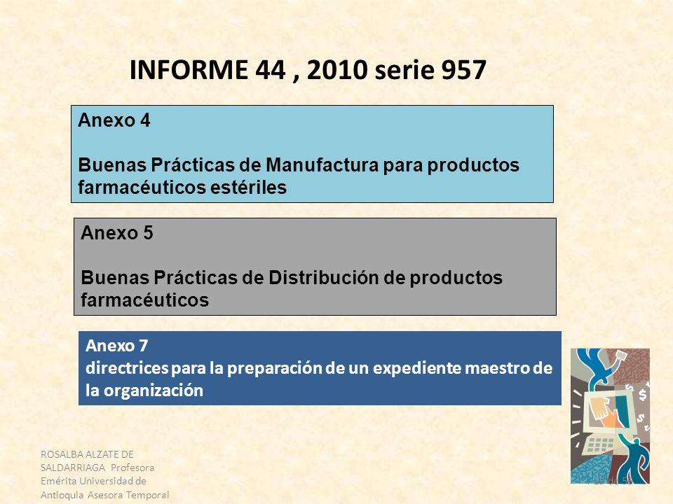 INFORME 44 , 2010 serie 957 Anexo 4. Buenas Prácticas de Manufactura para productos farmacéuticos estériles.
